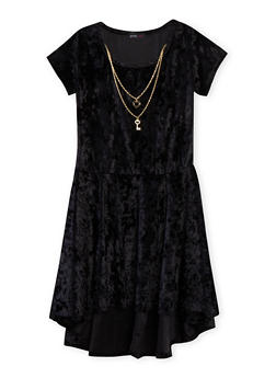 Girls 7-16 Crushed Velvet Dress with High Low Hem and Necklace - 1615029890001
