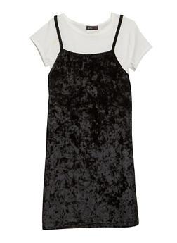 Girls 7-16 Crushed Velvet Dress and T Shirt - 1615029890002