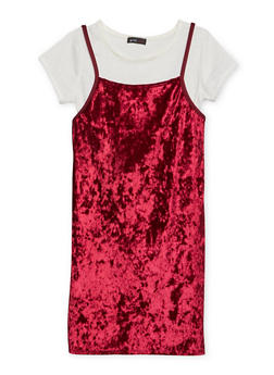 Girls 7-16 Crushed Velvet Dress and T Shirt - 1615029890002