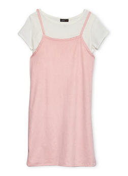 Girls 7-16 Layered Slip Dress with Cropped Tee - 1615029890003
