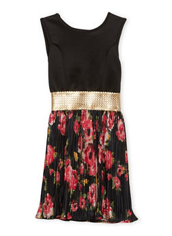 Girls 7-16 Pleated Fit and Flare Dress with Floral Print - 1615029890004