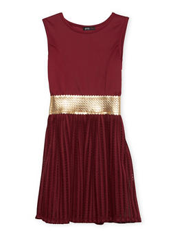 Girls 7-16 Sleeveless Dress with Metallic Trim - 1615029890005