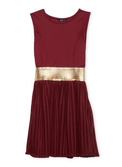 Girls 7-16 Sleeveless Dress with Metallic Trim - 1615029890006