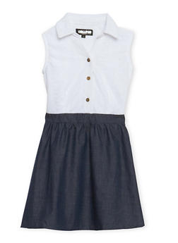 Girls 7-16 Chambray Skater Dress with Buttoned Lace Top - 1615038340001