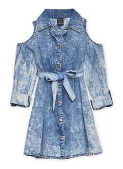 Girls 7-16 Acid Wash Denim Dress - 1615038340003