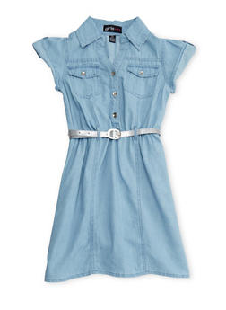 Girls 7-16 Short Sleeve Belted Chambray Shirt Dress - 1615038340004
