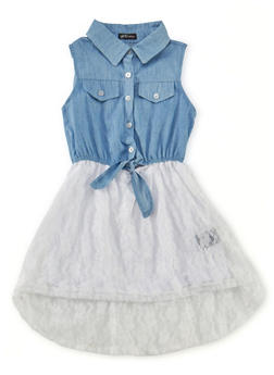 Girls 4-16 Sleeveless Denim Dress with Lace Skirt - 1615038340007