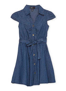 Girls 7-16 Chambray Short Sleeve Dress with Star Print - 1615038340011