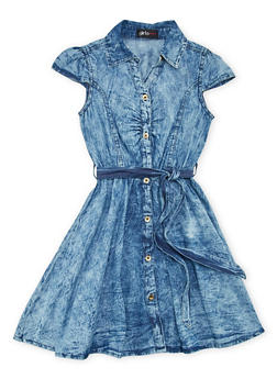 Girls 7-16 Denim Shirt Dress with Belt - 1615038340012