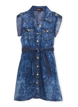 Girls 7-16 Denim Shirt Dress with Belt - 1615038340014