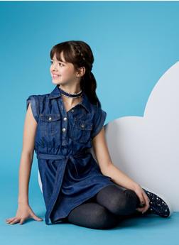 Girls 7-16 Denim Shirt Dress with Belt - 1615038340016