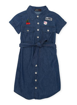 Girls 7-16 Belted Patched Graphic Denim Dress - 1615038340017
