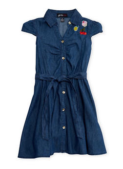 Girls 7-16 Short Sleeve Belted Denim Dress with Patches - 1615038340018