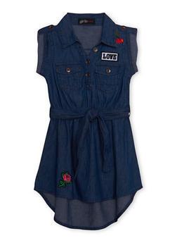 Girls 7-16 Belted Denim High Low Shirt Dress - 1615038340019