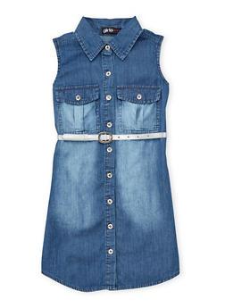 Girls 7-16 Faded Denim Belted Shirt Dress - 1615038340021