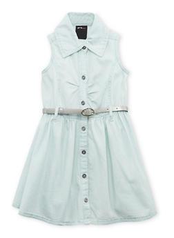 Girls 7-16 Sleeveless Belted Denim Shirt Dress - 1615038340022
