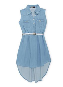 Girls 7-16 Short Sleeve Belted Chambray Shirt Dress - 1615038340023