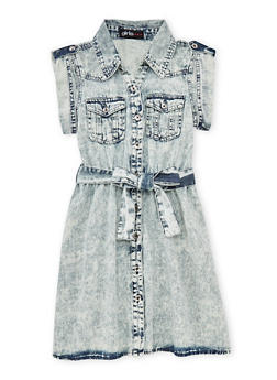 Girls 7-16 Acid Wash Denim Shirt Dress with Tab Sleeves - 1615038340025