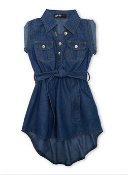 Girls 7-16 Short Sleeve Belted Denim High Low Dress - 1615038340029