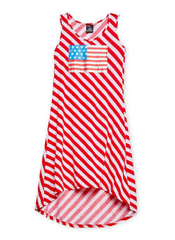 Girls 7-16 Stripe Americana Foil Graphic High Low Dress - 1615038340035