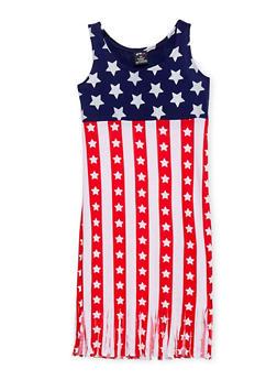 Girls 7-16 Americana Tank Dress with Fringe Hem - 1615038340036