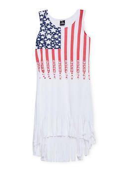 Girls 7-16 Americana High Low Dress with Fringe Hem - 1615038340038