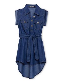Girls 7-16 Belted High Low Denim Shirt Dress - 1615038340039