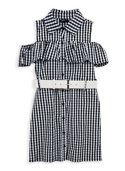 Girls 7-16 Gingham Print Belted Dress - 1615038340049