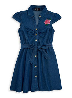 Girls 7-16 Rose Embroidered Denim Shirt Dress - 1615038340066