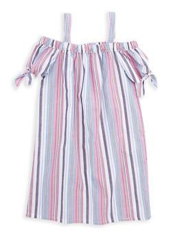 Girls 7-16 Striped Off the Shoulder Dress - 1615038340069
