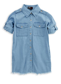Girls 7-16 Frayed Denim Shirt Dress - 1615038340070