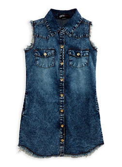 Girls 7-16 Frayed Denim Shirt Dress - 1615038340074