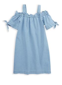 Girls 7-16 Off the Shoulder Denim Dress - 1615038340087