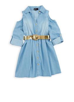 Girls 7-16 Denim Button Front Skater Dress - 1615038340088