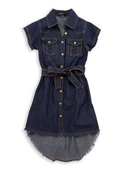 Girls 7-16 Denim Frayed Hem Shirt Dress - 1615038340089