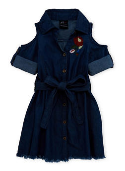 Girls 7-16 Flower Embroidered Belted Denim Dress - 1615038340092