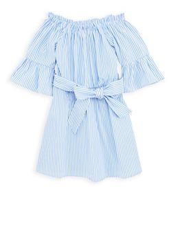 Girls 7-16 Striped Off the Shoulder Skater Dress - 1615038340094