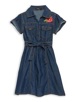 Girls 7-16 Flower Embroidered Denim Dress - 1615038340096
