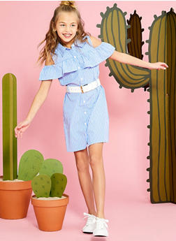 Girls 7-16 Striped Button Front Belted Dress - 1615038340098