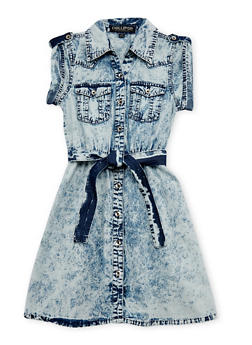 Girls 7-16 Acid Wash Button Front Denim Dress with Tie Belt - 1615038348145