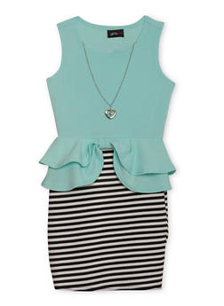 Girls 7-16 Striped Knit Peplum Dress - 1615051060005