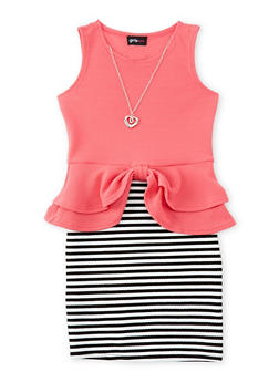 Girls 7-16 Striped Knit Peplum Dress - 1615051060005