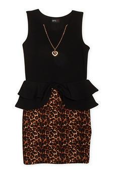 Girls 7-16 Leopard Orint Textuered Knit Peplum Dress with Necklace - 1615051060023