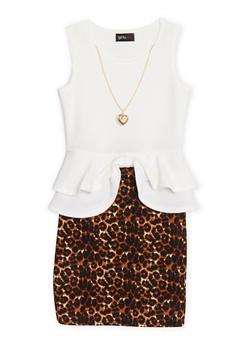 Girls 7-16 Leopard Print Textured Knit Peplum Dress with Necklace - 1615051060023