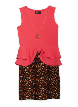 Girls 7-16 Leopard Orint Textuered Knit Peplum Dress with Necklace - 1615051060023