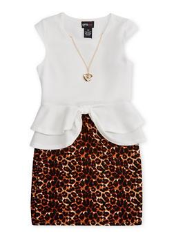 Girls 7-16 Leopard Textured Knit Peplum Dress with Necklace - 1615051060092