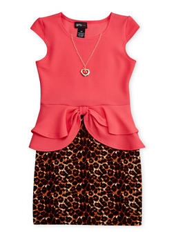 Girls 7-16 Leopard Textured Knit Peplum Dress with Necklace - 1615051060092