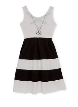 Girls 7-16 Color Block Textured Knit Skater Dress with Necklace - 1615051060093