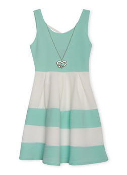 Girls 7-16 Sleeveless Caged Back Color Block Dress with Neckkace - 1615051060094