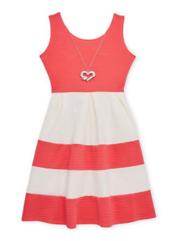 Girls 7-16 Sleeveless Textured Knit Color Block Dress with Necklace - 1615051060095